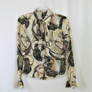 Escada Equestrian Print Silk blouse